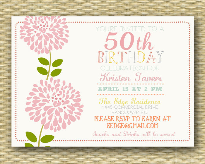 Birthday Invitation - Milestone Birthday - Surprise Birthday - Vintage Floral Word Art - ANY EVENT - Any Color Scheme
