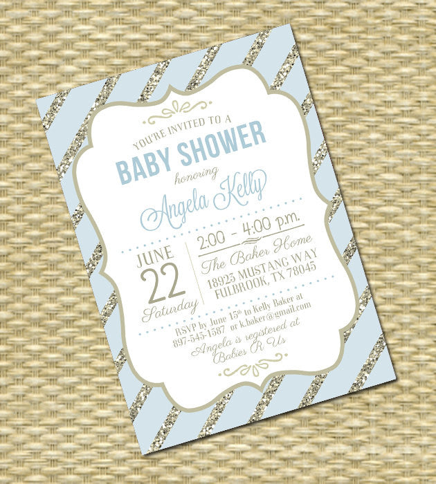 Printable Baby Shower Invitation, Baby Boy, Gender Neutral, Robin's Egg Blue, Gold Glitter, Any Event, Any Color Scheme, Kelly Typography