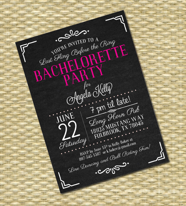 Bachelorette Party Invitation Vintage Chalkboard Black Hot Pink White Lingerie Shower Bachelorette Weekend Hens Night, ANY EVENT, Any Colors