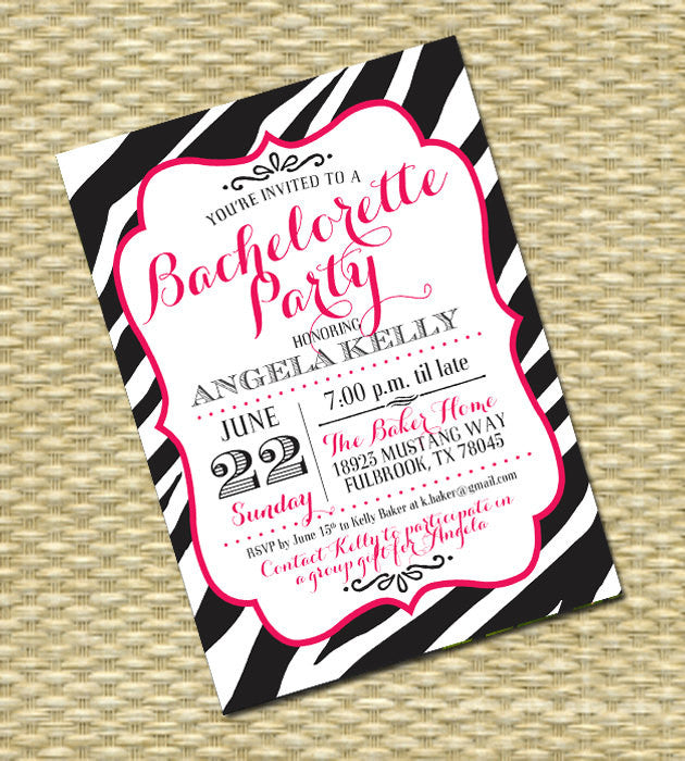 Bachelorette Party Invitation Lingerie Shower Hens Night Invitation Girls Night Out Last Fling Before the Ring Zebra Black Hot Pink White