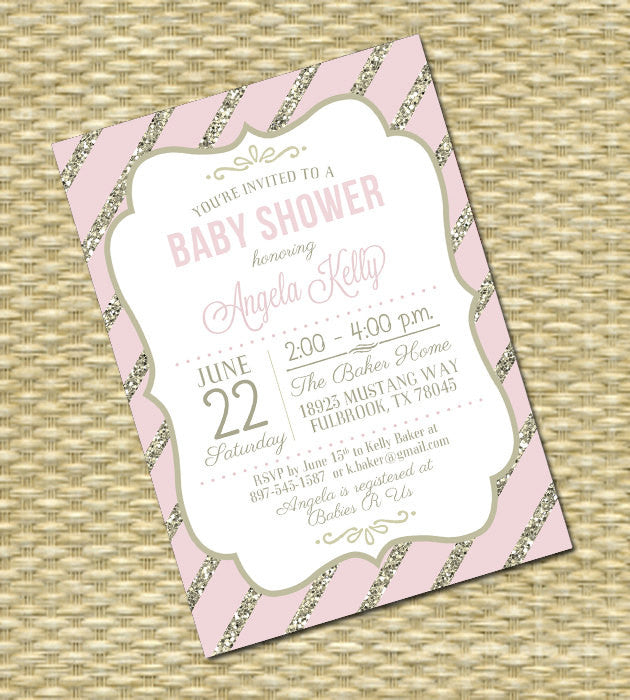 Baby Shower Invitation Printable or Printed Mint Gold Glitter Baby Girl Shower Gender Neutral ANY EVENT