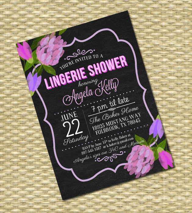 Lingerie Shower Invitation Chalkboard Wedding Shower Bridal Shower Invitation Vintage Chalkboard Floral Invitation, Any Event, Any Colors
