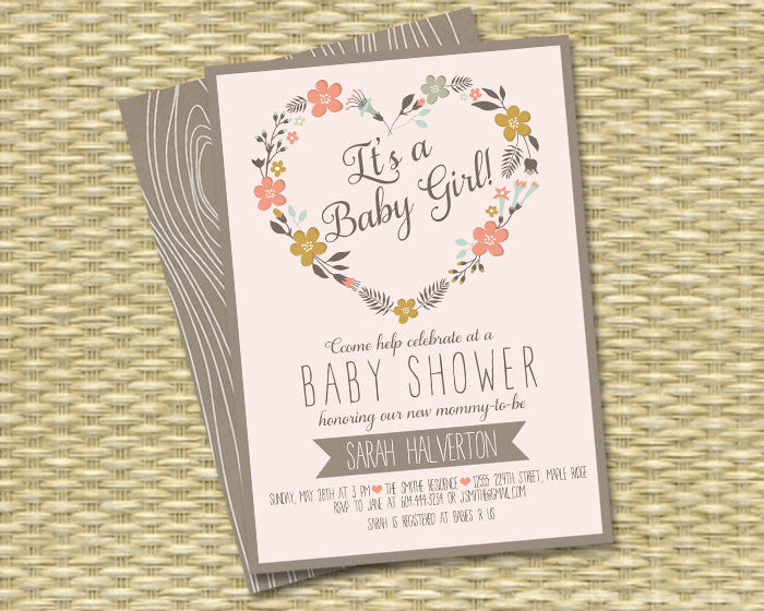 Printable Rustic Woodland Baby Shower Invitation Spring Floral Heart Wreath Baby Girl Rustic Baby Shower Sip and See Baby Sprinkle Any Event