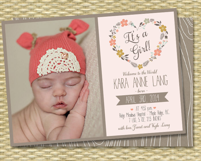 Baby Girl Birth Announcement Woodland Theme Floral Heart Faux Bois Rustic Birth Announcement Birthday Invitation Any Event Any Color Scheme