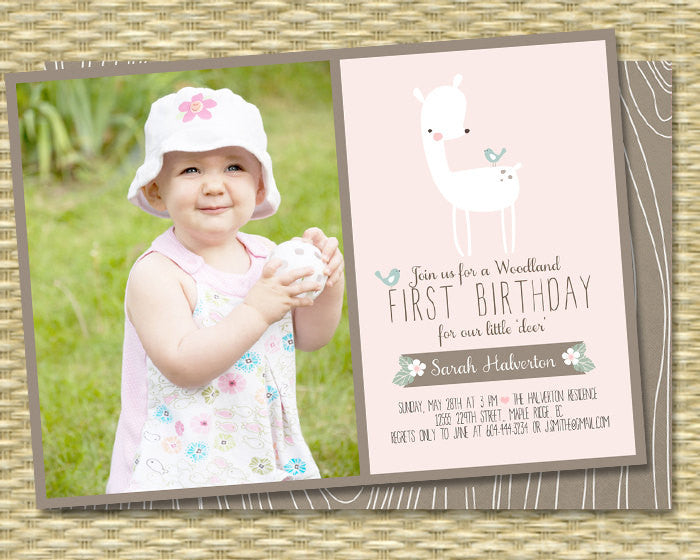 Rustic Woodland First Birthday Invitation Woodland Birthday Invite Little Deer Baby Shower, Any Event