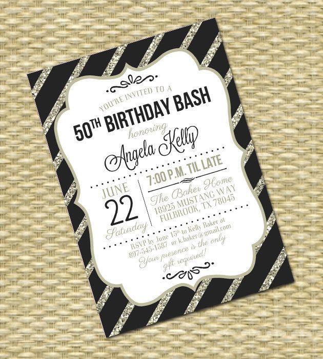 50th Birthday Invitation Black Gold Glitter Stripes New Years Party Golden Anniversary