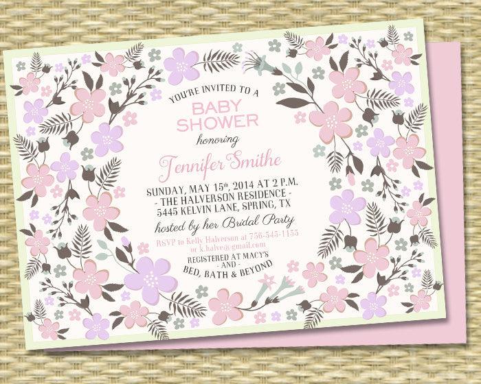 Floral Baby Shower Invitation Gender Neutral Baby Shower Aqua Lavender Mint Blush Spring Flowers Floral Wreath Baby Sprinkle, ANY EVENT