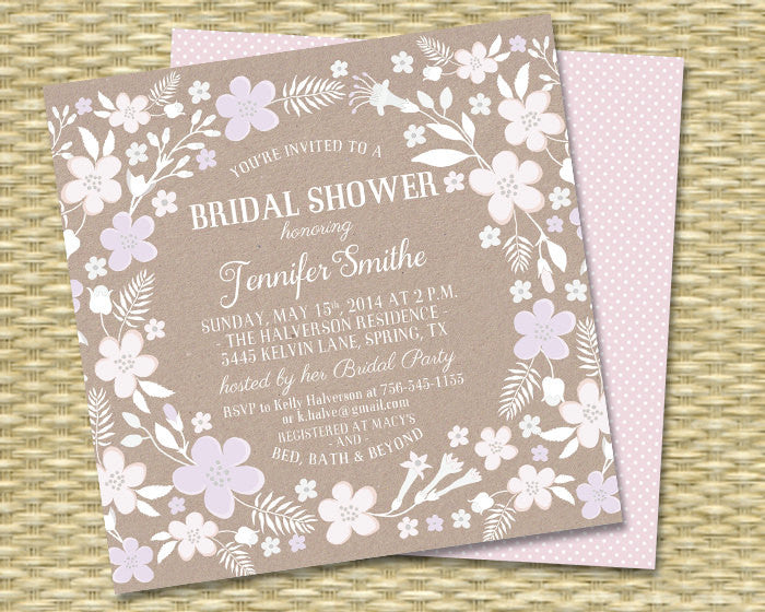 Kraft & White - Whimsical Square Floral Surround 2 - Bridal Shower, Baby Shower, Birthday Invitation - 5x5 - Any Color Scheme - ANY EVENT