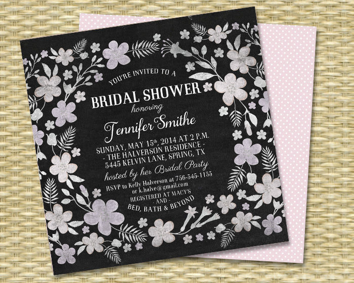 Chalkboard Whimsical Square Floral Surround 2 - Bridal Shower, Baby Shower, Birthday Invitation - 5x5 - Any Color Scheme - ANY EVENT