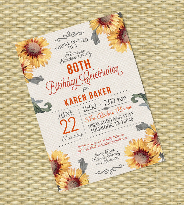 Adult Birthday Invitation Burlap and Sunflower Invitation 80th Birthday Invitation Summer Party Invitation Any Event