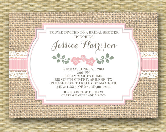 Burlap Lace Floral Bridal Shower Invitation, Printable or Printed, ANY EVENT