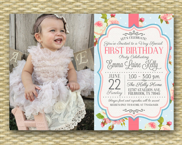 1st Birthday Invitation Shabby Chic Tea Party Floral Roses First Birthday Invite Photo Card, Any Age, Any Event, Any Colors