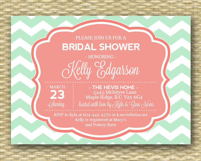 Printable Mint Coral Bridal Shower Invitation Modern Chevron Typography Style Mint Peach ANY COLOR, Any event