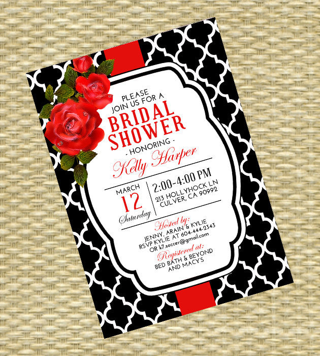 red roses bridal shower invitation floral invitation roses bridal shower red black and white adult birthday any event any colors