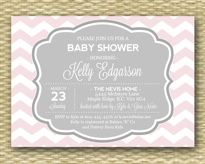 Pink Chevron Baby Shower Invitation Baby Girl Diaper and Wipes Baby Sprinkle Baby Shower Tea Party Sip and See, Any Color