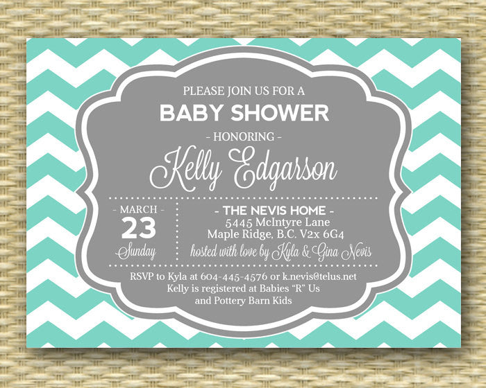 Gender Neutral Baby Shower Invitation Teal and Grey Chevron Baby Shower Baby Boy Diaper and Wipes Baby Sprinkle Any Color ANY EVENT