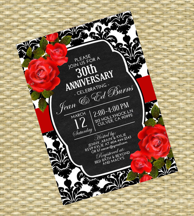 Anniversary Invitation - Milestone Anniversary - White, Black, Red, Chalkboard, Damask - Roses Vertical - Printable - ANY EVENT - Any Colors