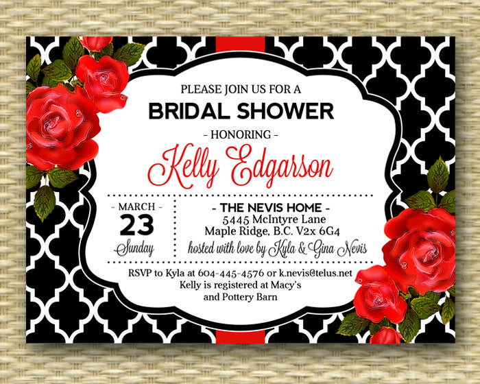 Bridal Shower Invitation Red Roses Black White Typography Style Floral Bridal Shower Invitation Bridal Brunch Bridal Tea, ANY EVENT