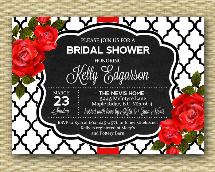 Bridal Shower Invitation Red Roses Red Black White Chalkboard Bridal Typography Style Chalkboard Shower Invite Floral Bridal, ANY EVENT