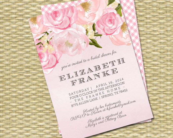 Bridal Shower Invitation Watercolor Floral Shower Invitation Pink Peonies Roses Floral Invitation Shabby Chic, Any Event, Any Colors