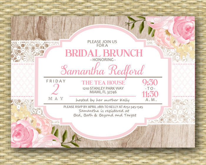 Bridal Brunch Invitation Pink Floral Bridal Shower Invite Rustic Wood Lace Watercolor Pink Roses Floral Peonies Bridal Shower Tea, Any Event