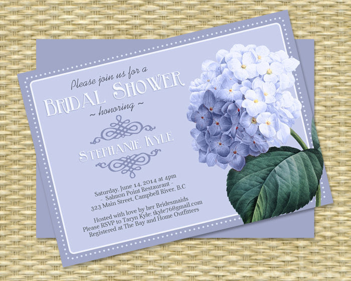 Bridal Shower Invitation Blue Hydrangea Vintage Floral Seed Packet Inspired Wedding ANY EVENT Any Color Scheme