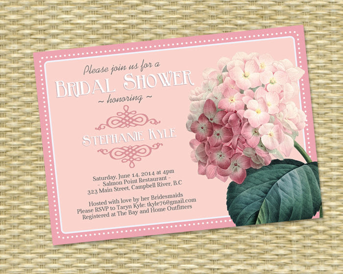 Printable Bridal Shower Invitation Pink Hydrangea Wedding Shower Invite Vintage Floral Seed Packet Bridal Brunch Bridal Tea, ANY EVENT