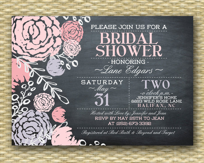 Bridal Shower Invitation Chalkboard Bridal Shower Invite Purple Pink Flowers and Typography Style Shabby Chic, ANY EVENT, Any Colors