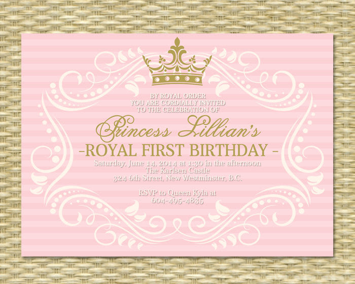Princess first birthday invitation royal baby girl shower princess first birthday invitation royal baby girl shower printable her royal majesty any color scheme any event filmwisefo