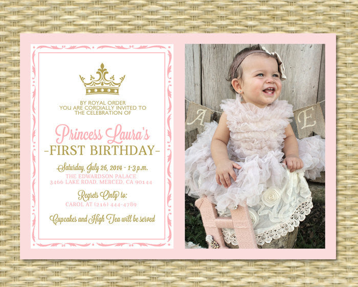 Pink and Gold Princess First Birthday Invitation, Photo Card, Royal Baby Girl Shower, Printable, Any Event