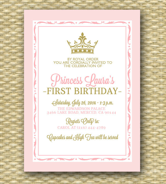 Pink and Gold Princess First Birthday Invitation - Royal Baby Girl Shower - Printable