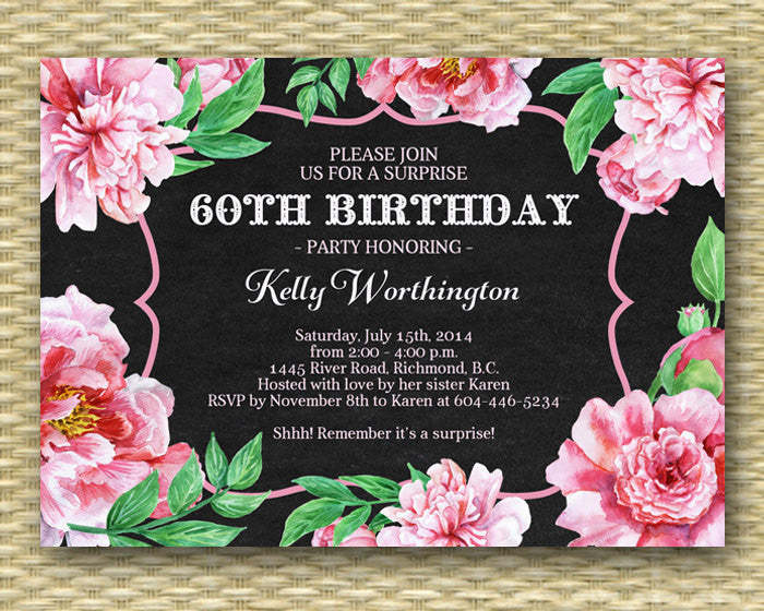 Milestone Birthday Invitation - Vintage Watercolor Peonies 2 - ANY EVENT