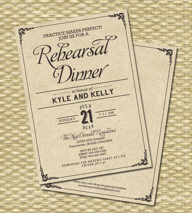 Rustic Kraft Rehearsal Dinner, Wedding, Bridal Shower Birthday Invitation - Kraft Typography - Any Color Scheme, Any Event