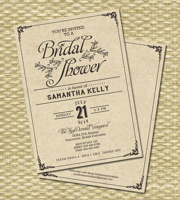 Rustic Kraft Birthday Invitation - 50th Birthday -  Milestone Birthday - Kraft Typography - Any Color Scheme, Any Event