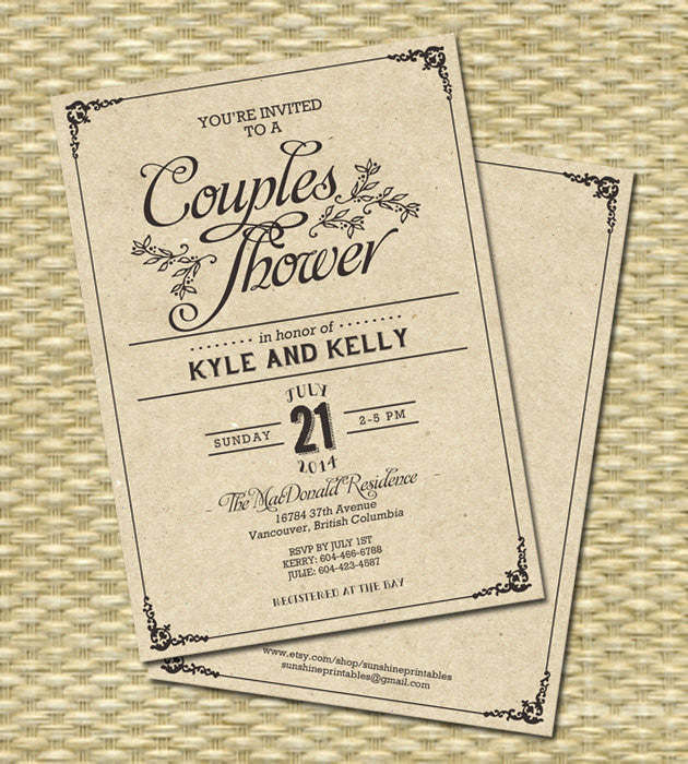 Rustic Kraft Couples Shower, Wedding Invitation, Rehearsal Dinner - Kraft Typography - Any Color Scheme, Any Event