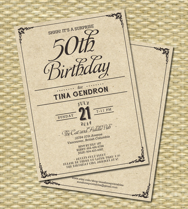 Rustic Kraft Birthday Invitation