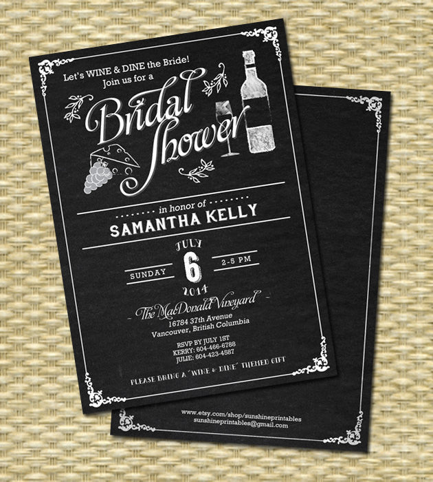 Wine Bridal Shower Invitation Chalkboard Bridal Shower Wine Themed Couples Shower Wine and Dine, Any Event, Any Color Scheme