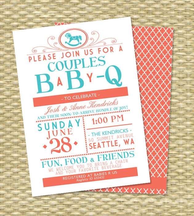 Baby Boy Shower Invitation BaByQ Couples Shower Invitation IT'S A BOY Baby Boy Gender Neutral Diapers and Wipes, Any Color, Any Event