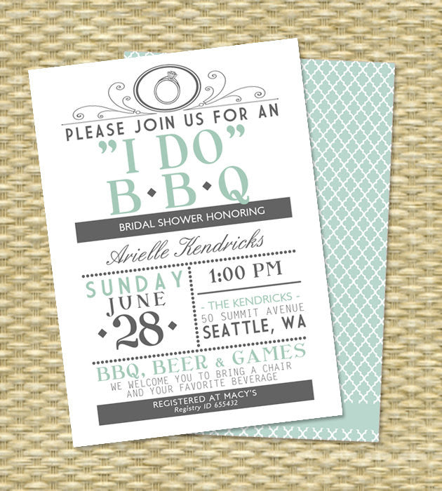 6af5838c66a ANY Color I DO BBQ Wedding Shower Couples Shower Barbecue Rehearsal Dinner  Engagement Party BabyQ Vintage Typography Mint Grey - Any Event