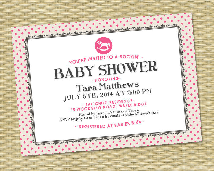 Baby Shower Invitation Baby Girl Shower Rocking Horse Rockin' Baby Shower Pink Grey Black White Hot Pink Sip and See Baby Sprinkle ANY EVENT