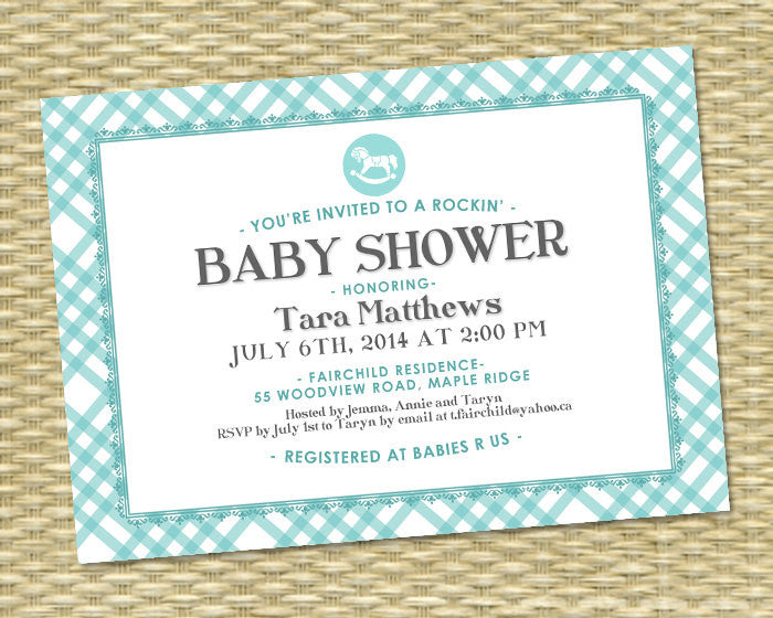 Baby Shower Invitation - Rockin' Baby Boy Shower, Tara Style - Blue, Aqua, Grey - ANY COLORS - Baby Girl, Gender Neutral, Rocking Horse