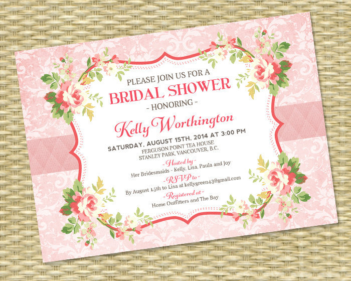 Shabby Chic Bridal Shower Invitation Mint Green Blush Pink Bridal Tea Bridal Brunch Roses Vintage Style Floral Invitation, ANY EVENT