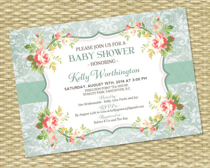 Baby Shower Invitation, Baby Girl Shower, Gender Neutral - Shabby Chic, Rustic, Classic, Vintage, Floral, Damask - Any Colors - ANY EVENT