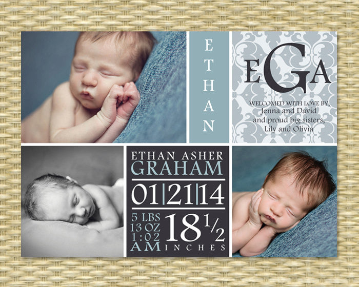 Birth Announcement 3 Photo Subway Typography Style Color Block Baby Boy Announcement Baby Girl Announcement, ANY COLORS