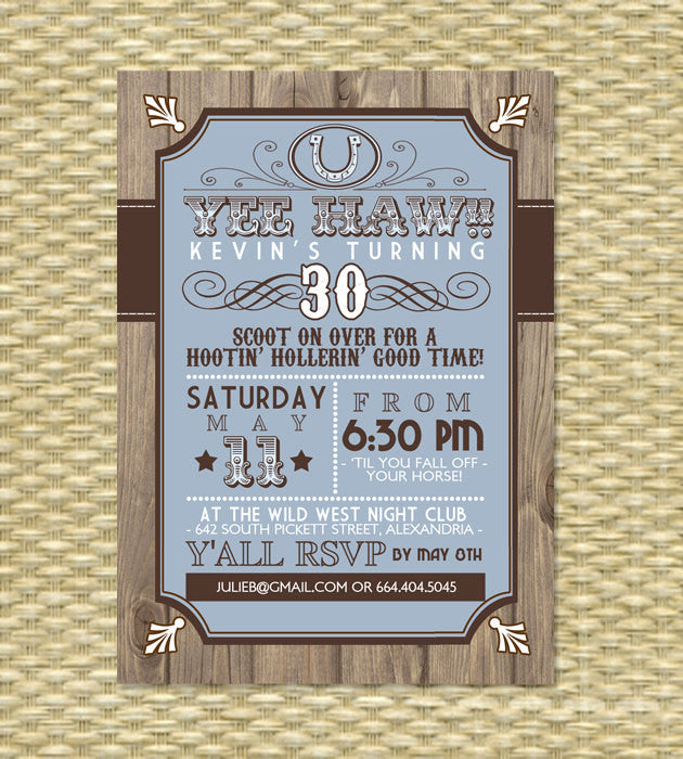 Country Western Birthday Invitation - Any Event - Any Color Scheme - Rustic, Vintage, Wood, Poster, Typography