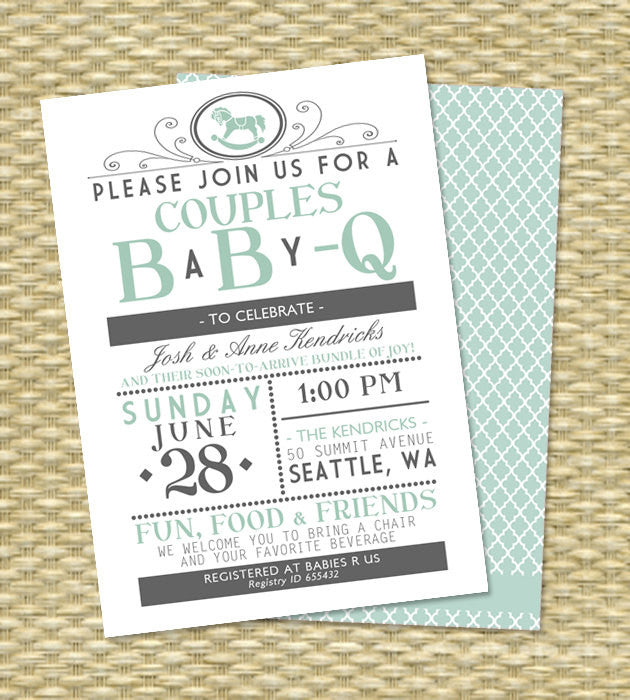 gender neutral babyq invitation couples baby shower barbecue baby