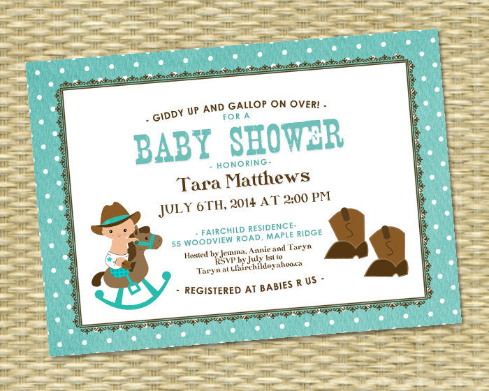 Baby Shower Invitation Baby Boy Little Cowboy Shower Teal Brown Country Western Cowboy Boots Rustic Baby Shower, ANY COLORS
