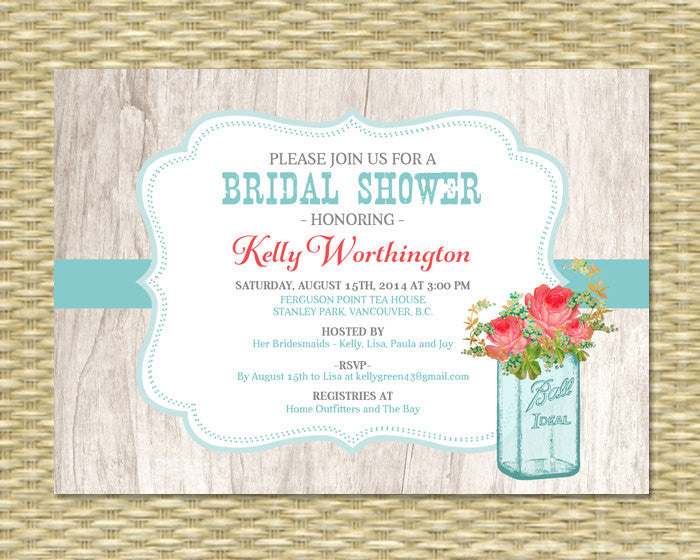 Mason Jar Flowers Bridal Shower Invitation Bridal Brunch Invite Bridal Tea Rustic Shower, Any Color, Any Event