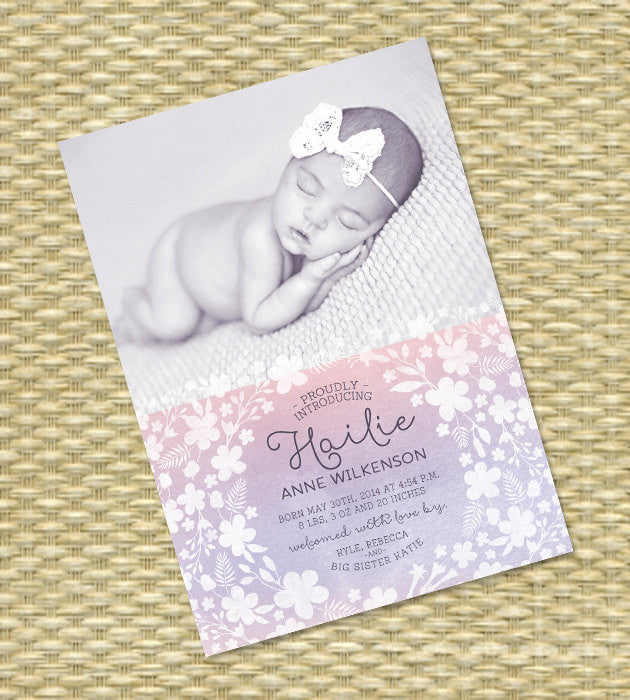 Baby Girl Birth Announcement Watercolor Floral Pink Lavender Purple Script Hallie Style, ANY COLORS