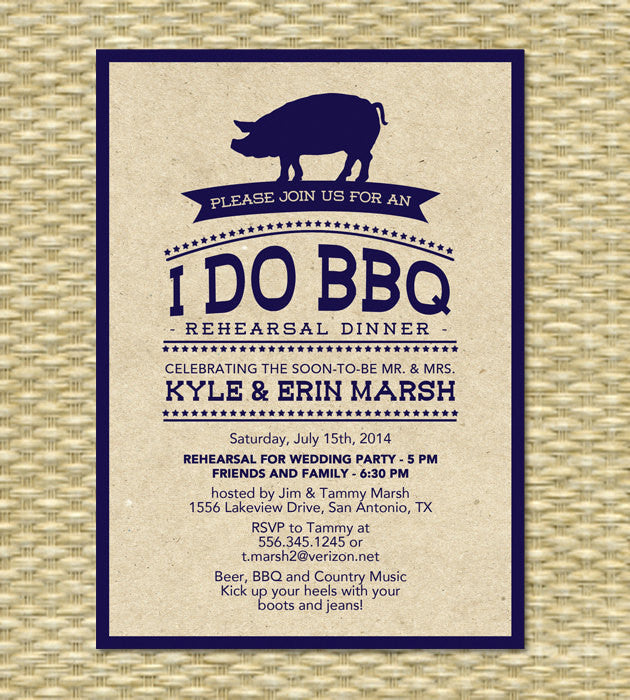 Rustic I Do BBQ Rehearsal Dinner Invitation Rustic Kraft BBQ Engagement Party Pig Roast Wedding Shower Invite, Any Color Scheme, Any Event